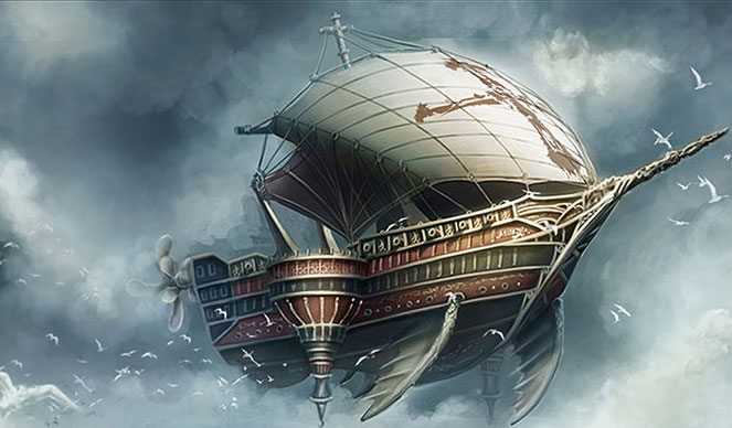 The Airship doesn't look like this, but it's the best image I could find. I'm not sure who it's by, but I think the artist is called 'Mr Rainbow'.