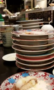 This is what stacks of plates a Sushi Train restaurant should look like--one that doesn't break the bank to boot.